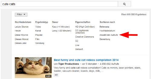 YouTube-Videos nach Klicks sortieren: Anzahl