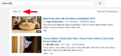 YouTube-Videos nach Klicks sortieren: Filter